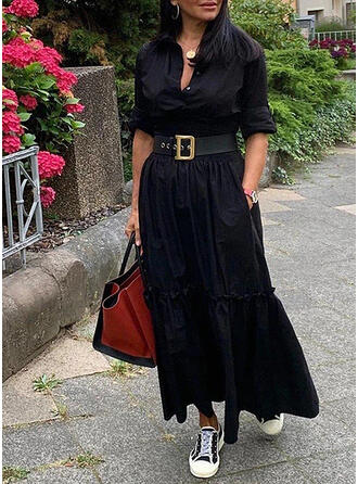 Solid Long Sleeves A-line Little Black/Casual Maxi Dresses