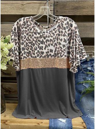 Leopard Paljetter Rund-ringning Korta ärmar T-tröjor