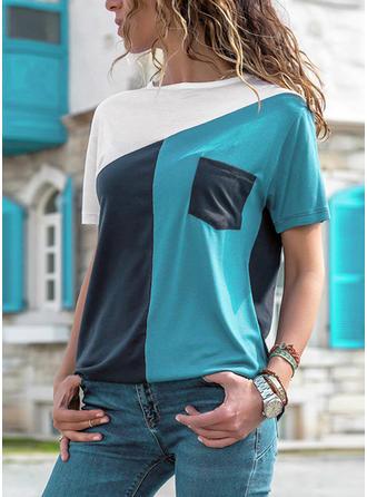 Couleur De Bloc Col Rond Manches Courtes Décontractée Tricotage T-shirts
