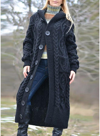 Solid Cable-knit Chunky knit Pocket Hooded Casual Long Cardigan