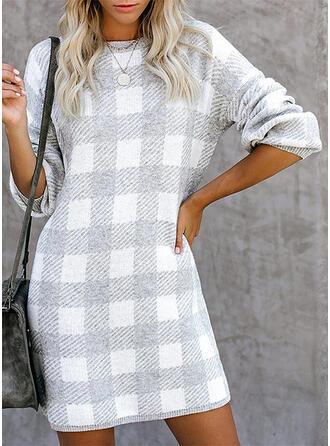Mřížka Kulatý výtřih Neformální Svetrové šaty