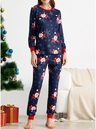 Polyester Manches Longues Noël Ensemble pyjama