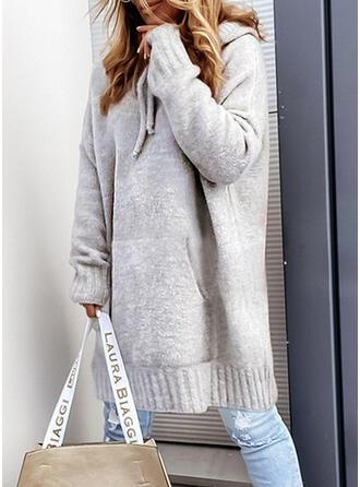 固体 Knit 長袖 ドロップショルダー シフトドレス 膝丈 カジュアル セーター ドレス