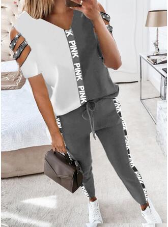 Brev Print Color Block Fritids Extra stor storlek blus & Tvådelade kläder uppsättning