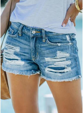 固体 デニム 膝上 カジュアル プラスサイズ pocket shirred rippped パンツ ショートパンツ デニムジーンズ