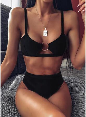Couleur Unie Jambe haute À Bretelles Sexy Jolis Classique Bikinis Maillots De Bain