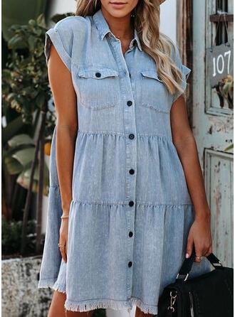 固体 半袖 シフトドレス 膝上 カジュアル/デニム シャツ ドレス