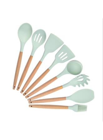 Modern High Quality Wooden Silicone Kitchen Tools (Set of 8)