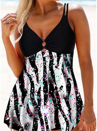 Print Strap Sexy Plus Size Swimdresses Swimsuits