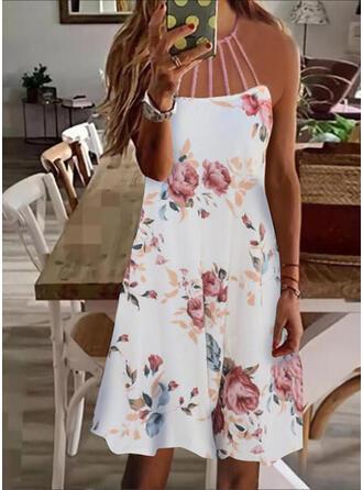 Estampado/Floral Sem mangas Shift Acima do Joelho Casual Vestidos