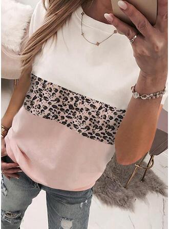 Color Block Leopard Rund-ringning Korta ärmar T-tröjor
