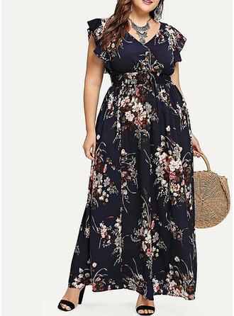 Plus Size Floral Print Short Sleeves A-line Maxi Casual Elegant Dress
