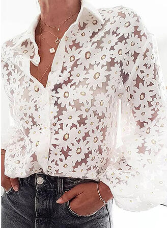 Floral Solapa Manga Larga Con Botones Casual Elegante Blusas Blusas Finas
