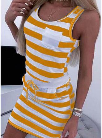 Impresión/Rayado Sin mangas Ajustado Sobre la Rodilla Casual Vestidos