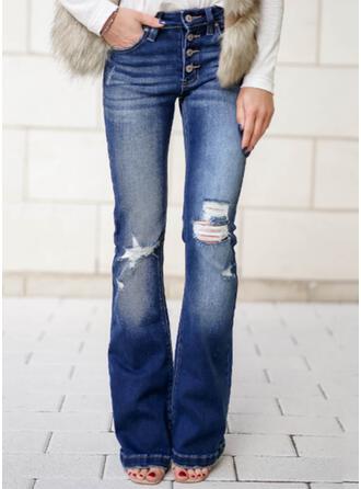 Sólido Jean Grandes Elegante Tamanho positivo Bolso rasgado Button Jeans