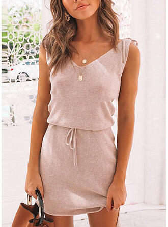 Solid Sleeveless Sheath Above Knee Casual Dresses