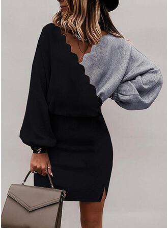 Color Block Dlouhé rukávy puff rukáv Přiléhavé Nad kolena Elegantní Šaty