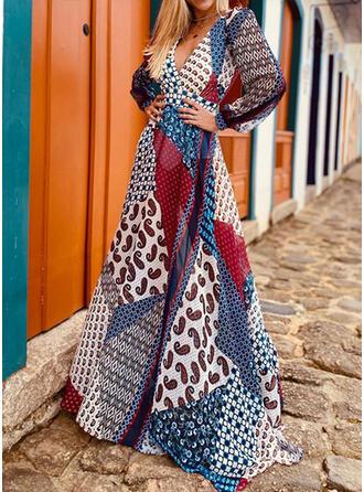 Nadrukowana/Patchwork/Bez pleców Długie rękawy W kształcie litery A Łyżwiaż Seksowna/Wakacyjna Maxi Sukienki
