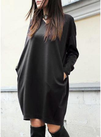 Sólido Manga Larga Tendencia Hasta la Rodilla Pequeños Negros/Casual Vestidos