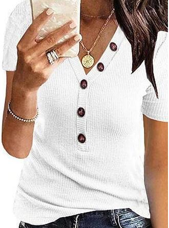 Egyszínű V-nyak Rövidujjú Gombos Hétköznapokra Μπλουζάκια