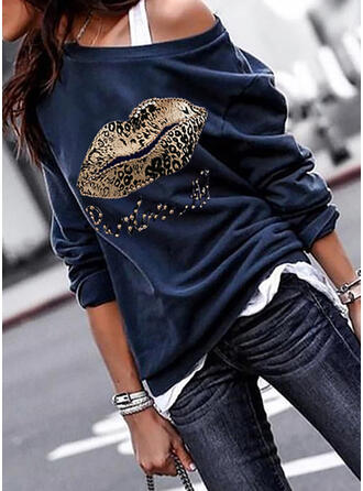 Print Leopard One Shoulder Long Sleeves Sweatshirt