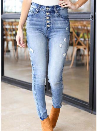 Sólido Jean Grandes Casual Tamanho positivo Bolso rasgado Button Jeans