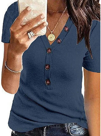Solid V-Neck Short Sleeves Button Up Casual T-shirts