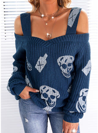 Halloween Print Skull head Cold Shoulder Casual Sweaters