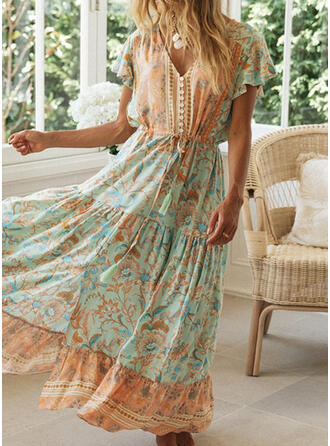 Print/Floral/Tassel Short Sleeves A-line Skater Casual/Vacation Maxi Dresses