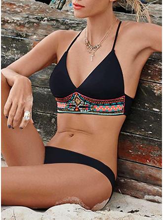 Armature Taille Basse Imprimé Dos Nu Sexy Grande taille Bikinis Maillots De Bain