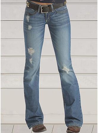 Sólido Jean Grandes Vintage Tamanho positivo Bolso rasgado Jeans
