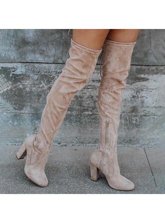 De mujer Ante Tacón ancho Botas con Cremallera Color sólido zapatos