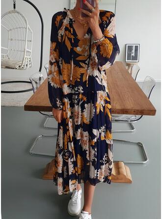 Print Long Sleeves Shift Casual Midi Dresses