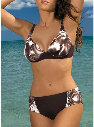 Cintura Alta Impresión Correa Cuello en V Sexy Antiguo Bikinis Trajes de baño