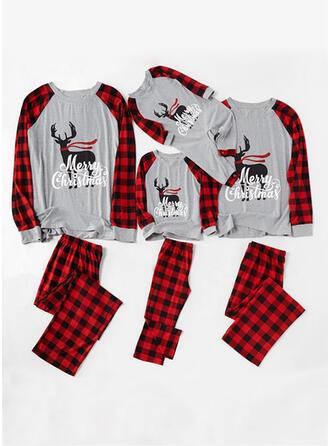 Τάρανδος Καρό ύφασμα Επιστολή Οικογένεια Εμφάνιση Χριστουγεννιάτικες πιτζάμες