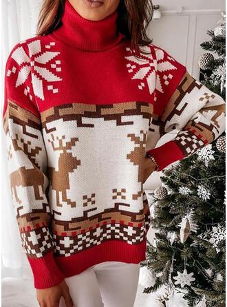 クリスマス 印刷 トナカイ スノーフレーク ハイネック カジュアル セーター