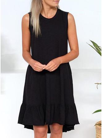 Sólido Sin mangas Tendencia Hasta la Rodilla Pequeños Negros/Casual Vestidos