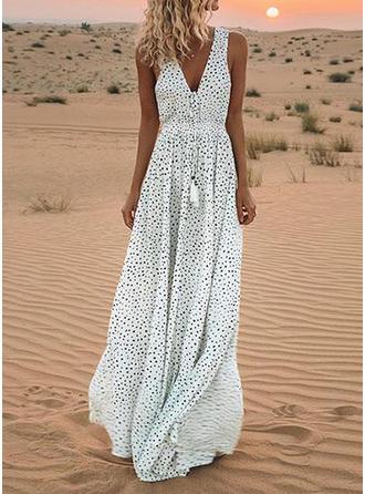 Lace/PolkaDot Sleeveless A-line Casual/Party/Vacation Maxi Dresses