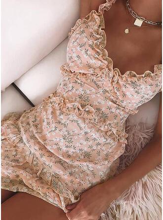 Impresión/Floral Sin mangas Ajustado Sobre la Rodilla Sexy/Casual/Vacaciones Vestidos
