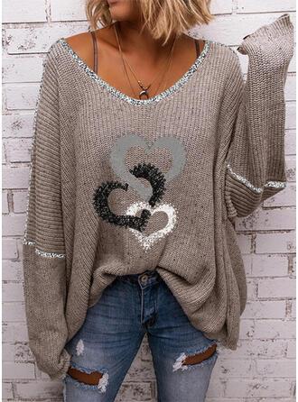 Impresión Corazón Cuello en V Casual Suéteres