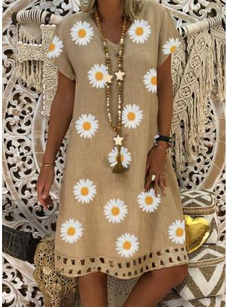 Impresión/Floral Manga Corta Tendencia Hasta la Rodilla Casual/Elegante Vestidos