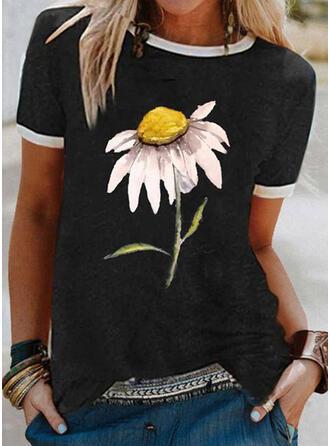 Blommig Print Rund-ringning Korta ärmar T-tröjor