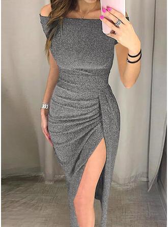 Solid Short Sleeves Sheath Little Black/Party/Elegant Midi Dresses