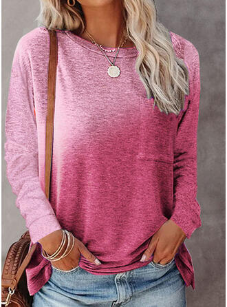 Gradient Round Neck Long Sleeves T-shirts