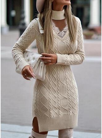 固体 レース 長袖 カジュアル ドレス