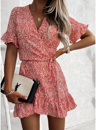 Print Short Sleeves Sheath Above Knee Casual Wrap Dresses