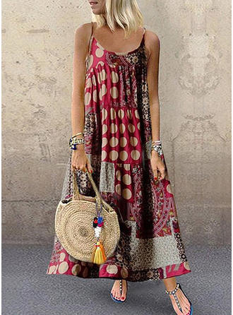 Patchwork Sleeveless Shift Casual/Boho/Vacation Maxi Dresses