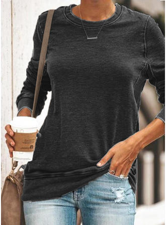 Sólido Cuello redondo Manga Larga Casual Tejido De Punto Camisetas