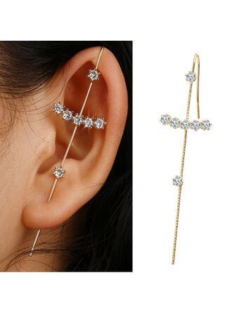 Luminoso Simple Cruz Aleación Diamantes de imitación De mujer Pendientes