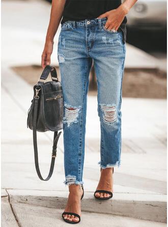 Froncé Grande taille Déchiré Élégante Plaine Jeans